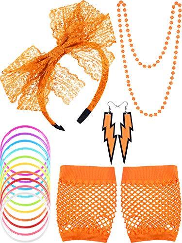Blulu 80s Lace Headband Earrings Fishnet Gloves Necklace Bracelet for 80s Party -