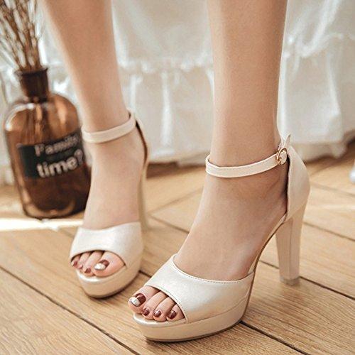 Coolcept Mujer Moda Al Tobillo Sandalias Peep Toe Tacon Ancho Plataforma Zapatos Beige