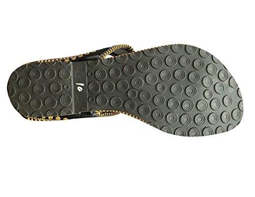 Step n Style mano Jaipuri–Sandalia Zapatos Punjabi jutti Zapatillas de Casual zapatos de Khussa Negro - negro