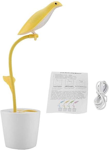 Growcolor Lampada Da Tavolo Da Tavolo Con Controllo Tattile A Led Con Ricarica Usb In Stile Uccello Da Camera Da Letto Giallo Amazon It Casa E Cucina