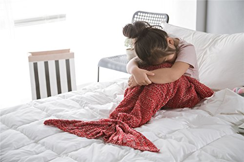 Handmade Mermaid Tail Blanket Crochet , iBaby888 All Seasons Warm Knitted Bed Blankets Sofa Living Room Quilt for Kids, Classic Pattern, 55.1
