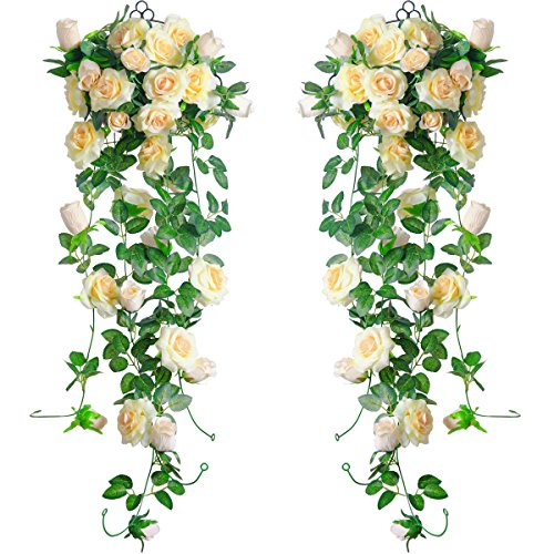 PARTY JOY 6.5Ft Artificial Rose Vine Silk Flower Garland Hanging Baskets Plants Home Outdoor Wedding Arch Garden Wall Decor,2PCS (Champagne) from PARTY JOY