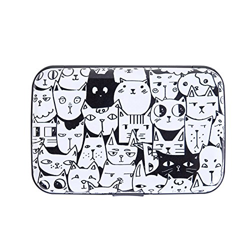 HDE Aluminum RFID Blocking Wallet Identity Protection Travel Credit Card Case (A Thousand Cats) (Womens Card Case)
