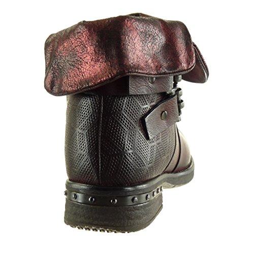 3 Stivaletti Moda cm Donna Tacco Bordo Tanga Angkorly Foderato di a Blocco Soletta Borchiati Biker Cavalier Intrecciato Scarponcini Scarpe Pelliccia da Classic EtaqawgAZ