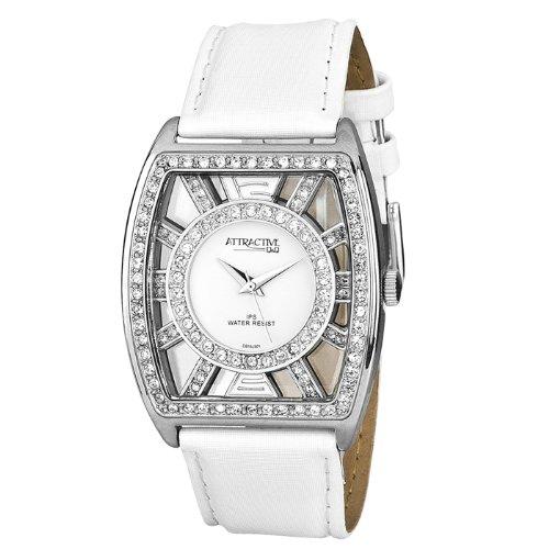 Q&Q DB15J301 - Reloj de cuarzo para mujer, con correa de cuero, color blanco