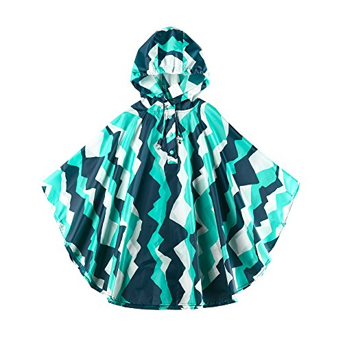 (Spring Fever Girls Kids Toddler Hooded School Backpack Rain Ponchos Jacket Raincoats Mountain L (Fit 47.24