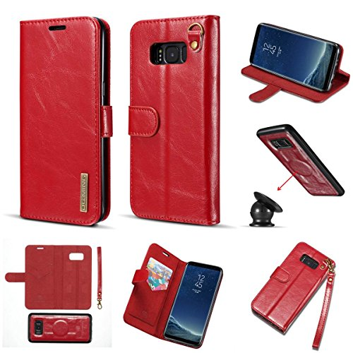 - Galaxy S8 Leather Case,DG.MING Genuine Cowhide Leather Folio Flip Wallet Case Ultra Thin Built-in Magnetic Pickup Detachable SlimCase Cover for Samsung Galaxy S8 with Hand Strap (Red)