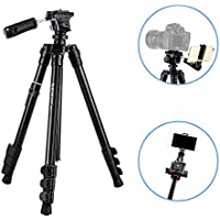 BONFOTO B73A 58inch Portable Heavy Duty Lightweight Aluminum Camera Video Tripod with 1/4 Screw Pan Tilt Head & Phone Clip for Canon Nikon Sony DSLR Camcorder iPhone Cellphones