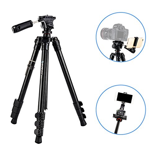 This tripod works great! Perfect size for general use, but only thing is that it's little sticky to turn left to right. Overall it's a nice product.