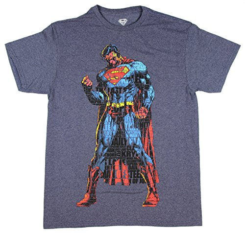 DC Comics Superman Man of Steel Verbiage Licensed Graphic T-Shirt - Large (Superman: Man Of Steel Cape)