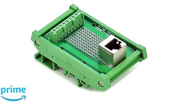 Slim DIN Rail Mount RJ45 8P8C Breakout Board Interface Module.