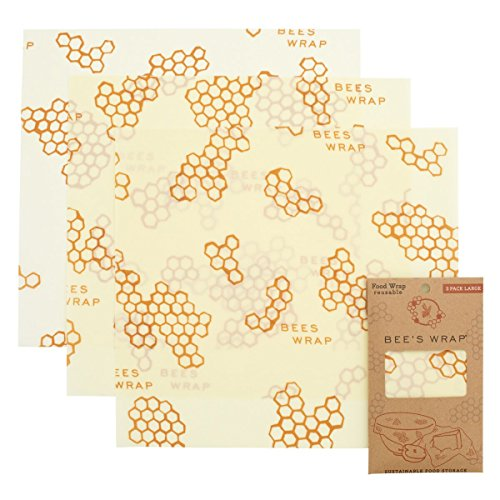 Bee's Wrap Large 3 Pack, Eco Friendly Reusable Food Wraps, Sustainable Plastic Free Food Storage, Each Wrap Measures 13