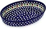 Polmedia Polish Pottery 11-inch Stoneware Oval Baker H2916D Hand Painted from Zaklady Ceramiczne in Boleslawiec Poland. Shape S417A(GU349) Pattern P2640A(41A)
