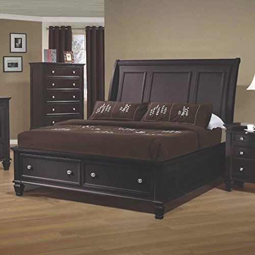 Coaster Home Furnishings Sandy Beach Queen Sleigh Bed with Footboard Storage Cappuccino