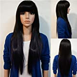Rise World Wig Womens Fashion 70cm Long Straight Bangs Cosplay Costume Black Heat Friendly Wig