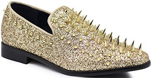 SPK09 Men's Vintage Spike Dress Loafers Slip On Fashion Shoes Classic Tuxedo Dress Shoes (9 D(M) US, Gold (New))