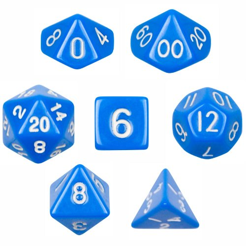 (7 Die Polyhedral Dice Set - Solid Blue with Velvet Pouch By Wiz Dice)