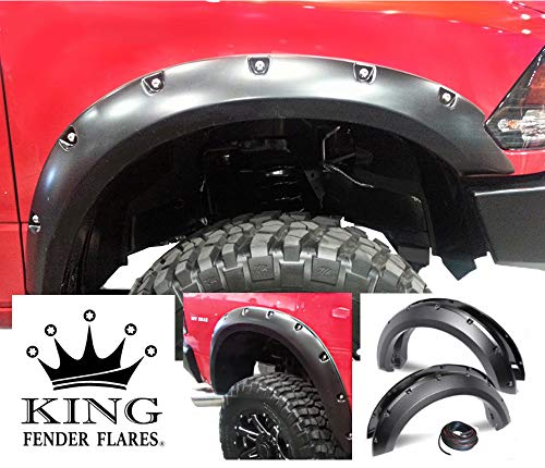 KING FENDER FLARES: Fits 2010-2019 Dodge RAM 2500/3500 Pocket with Rivet Style 4 Piece Bolt-ON - Smooth Finish - PAINTABLE Flares NO Drill Design