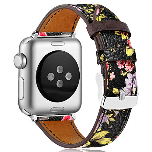 KOLEK Leather Bands 38mm/40mm Compatible with Apple Watch, Leather Band for Women/Men Compatible with Apple Watch Series 4/3/2/1, Pink Flower