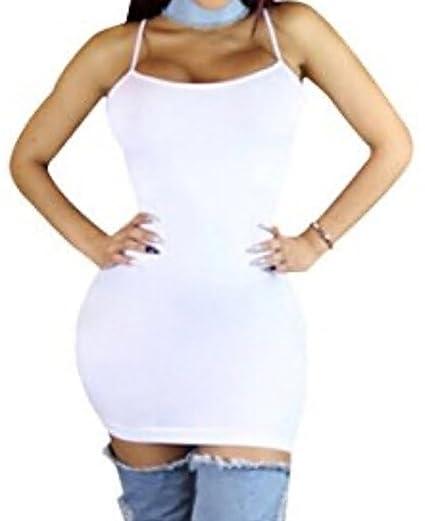 49ccb47f25a Faithtur Womens Basic Solid Cami Slip Dress Bodycon Strap Tank Mini Dress  (US 2