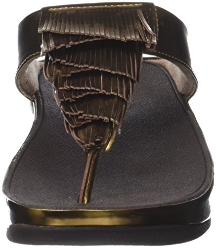 Toe Ouvert thong Cha 012 Femme Fringe bronze Bout Metallic Sandals Marron Fitflop tx1awRqW