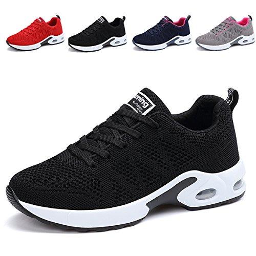 JARLIF Women's Breathable Fashion Walking Sneakers Lightweight Athletic Tennis Running Shoes (5.5 B(M), Black)