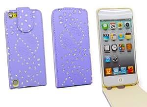 Kit Me Out ES ® Funda Flip Cover cuero sintético para Apple iPod Touch 5 (5ª generación) - Lila Destellos