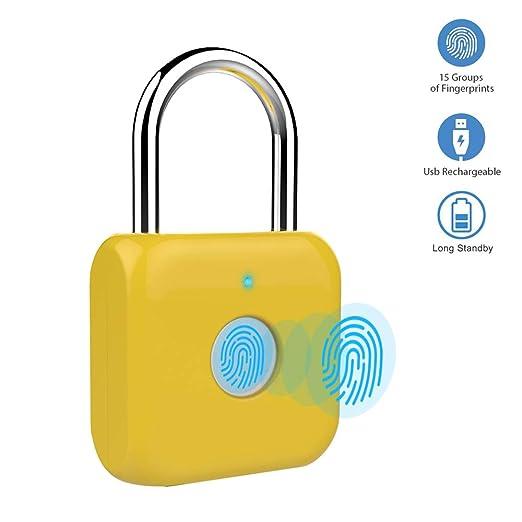 Candado con huella digital Mini candado inteligente Cargador USB sin llave Cerradura biométrica de alta seguridad para casillero de gimnasio, ...