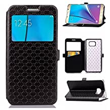 YHUISEN Solid Color Smart Window View PU Leather Wallet Flip Folio Cover Case With Stand/Card Slot For Samsung Galaxy Note 5 ( Color : Black )