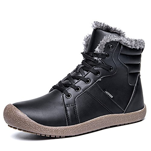GOMNEAR Men Winter Snow Boots Fur Lined Outdoor Waterproof Ankle Warm High Top Winter Fashion Shoes,Black-44