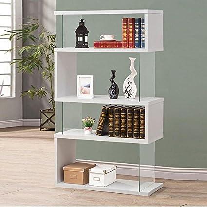 Wakrays Modern Long Floating Shelf Bookcase Asymmetrical Snaking Bookshelf White