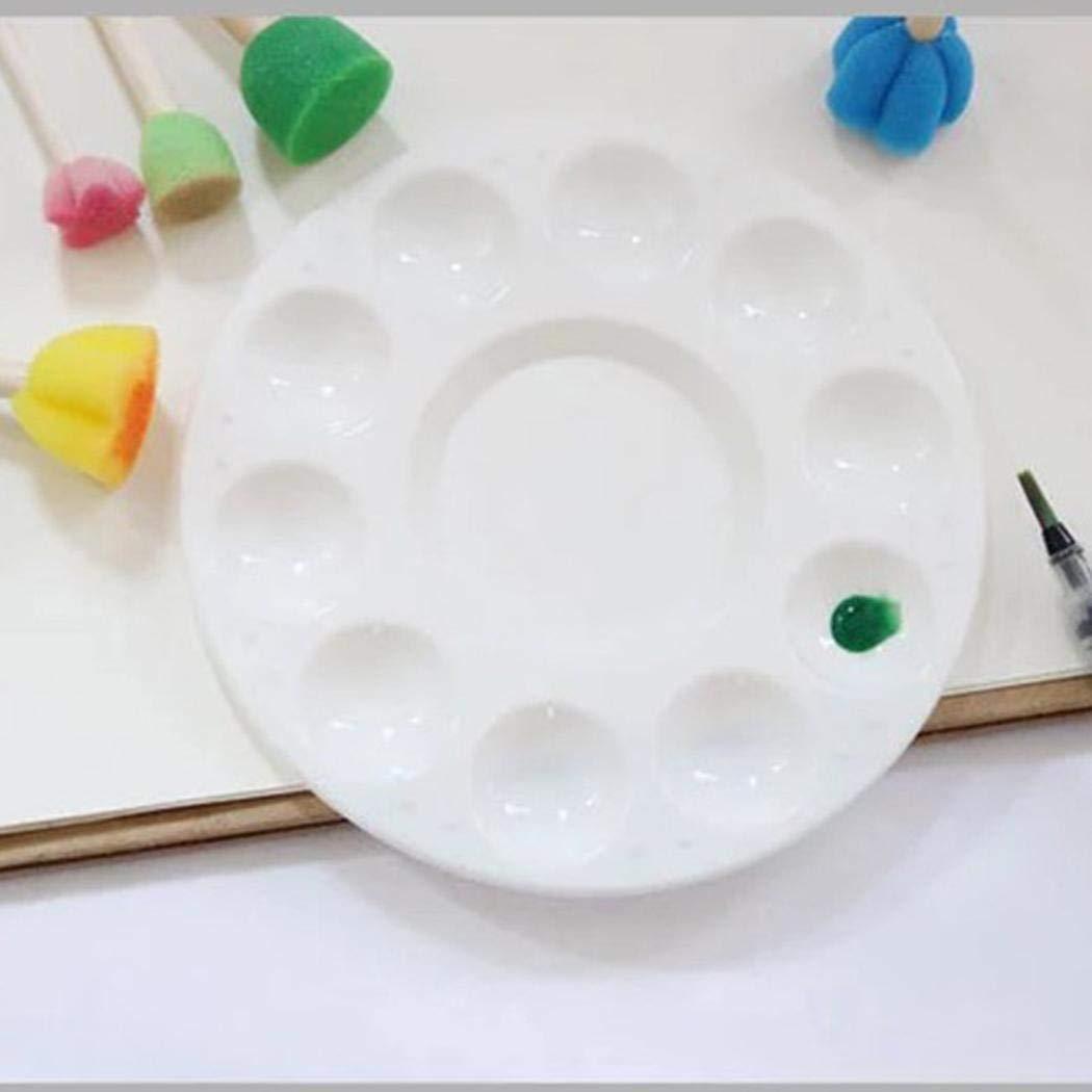 Zimrio 20 Pcs Blue Paintbrush 6 Pcs 10 Holes Round Plastic Palette Set Painting Tools Paintbrush Sets