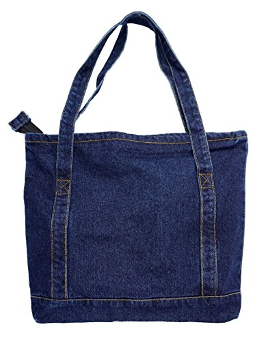 Yunzh Canvas Bag Denim Tote Shoulder Handbag Shopping School Travel Large Pockets(Blue)