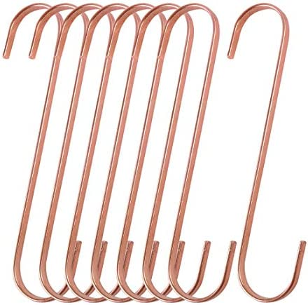 uxcell 8pcs S Hooks Plating Stainless Steel Hangers Holder Kitchen Bathroom Closet for Hanging Plants Pots and Pans Coffee Mugs Utensils Clothes Towel Rose Gold