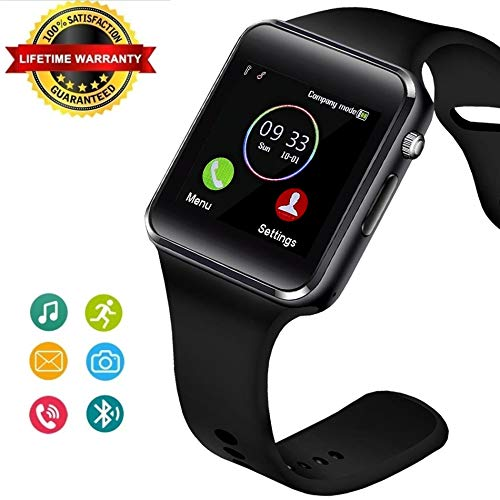 Bluetooth Smart Watch Fitness Tracker, Touch Screen Smart Wrist Smartwatch Support SIM SD Card Slot Make/Answer Phone Camera Pedometer Compatible Android iOS Samsung LG for Women Men Kids (Black) (Best Bluetooth Smartwatch For Android)