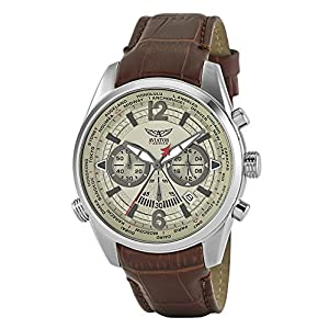 Aviators Watch by Aviator F-Series – Aviators Brown Strap Beige Dial and Luminous Indices – Pilot Quartz Chronograph AVW2120G318