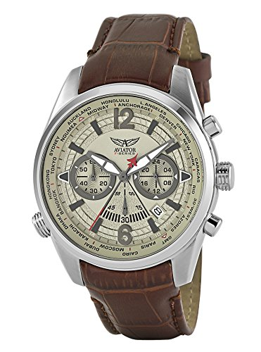 Aviator Pilot Chronograph Watch - Aviators Watch by Aviator F-Series - Aviators Brown Strap Beige Dial and Luminous Indices - Pilot Quartz Chronograph AVW2120G318