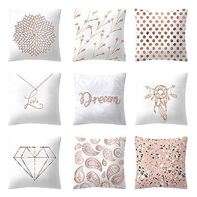 FORUU Throw Pillowcase, Rose Gold Pink Cushion Square Pillowcase Home Decoratio