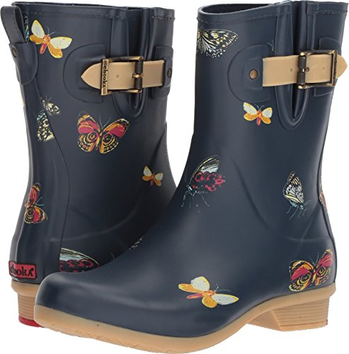 Chooka Womens Butterfly Mid Rain Boots Blu Scuro