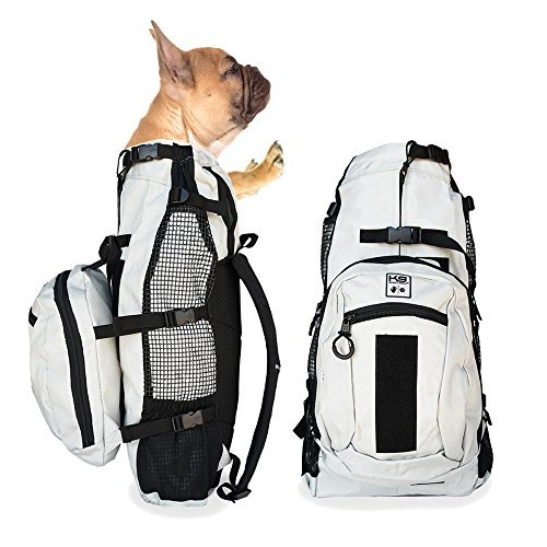 K9 Sport Sack AIR PLUS | Dog Carrier Backpack For Small and Medium Pets | Front Facing Adjustable Pack With Storage Bag | Fully Ventilated | Veterinarian Approved (Small, Light Grey)