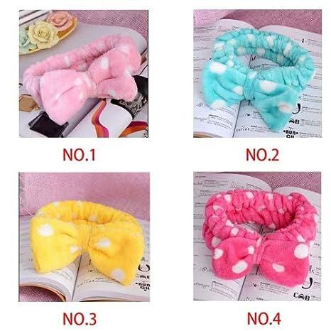 Minzhi Lovely Big Bow Dot Striped Soft Shower Hair Band Wrap Headband Bath Spa Make Up Headband
