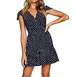 Outsta Women Summer Button Ruffle Dot Printed Dress V Neck Button Casual Loose Beach Dress Mini Dress (Navy, M)