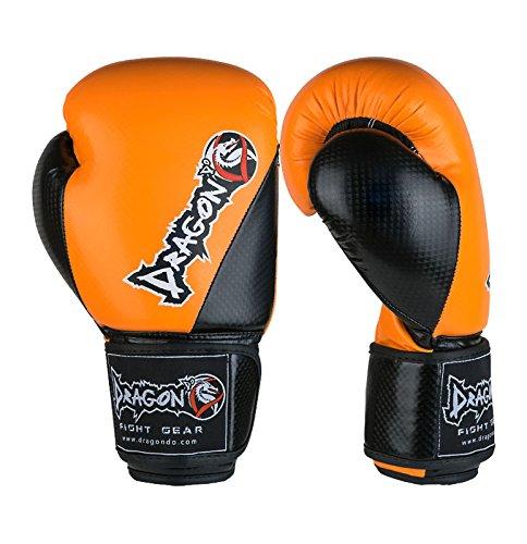 ドラゴンDoカーボンIIボクシンググローブ、トレーニングSparringバッグ手袋、Punchingキックボクシングムエタイ総合格闘技6 8 10 12 14 16 Oz異なる色。。。 オレンジ/ブラック 16 oz