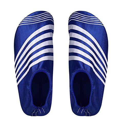 Pictures of Peach Couture Mens Athletic Water Shoes Slip on Quick Drying Aqua Socks (Medium, Blue White) 1