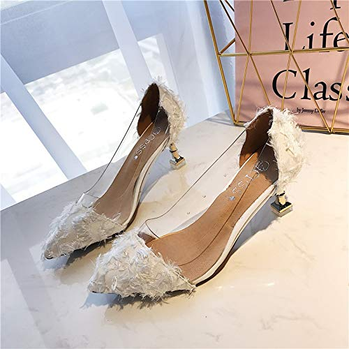 Trasparente Tacco MLGSDW Sexy alto Girl Scarpa Shoesthirty Superficiale Nuovo Casual Sharp Tacco Femminile singola sottile Fivewhite qzrqv0a4