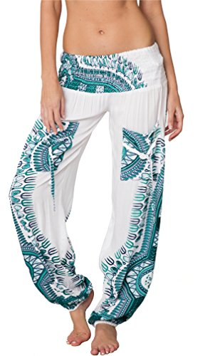 (INGEAR Harem Yoga Pilates Pants Hippie Bohemian Smocked Baggy Boho Fitness Gypsy Yoga (White Turquoise, Medium))