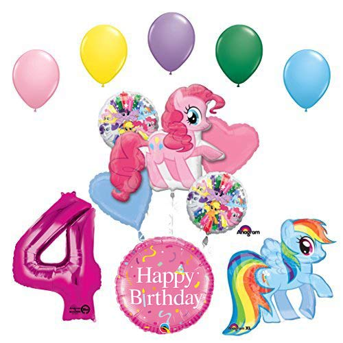 My Little Pony Pinkie Pie and Rainbow Dash 4th Birthday Party Supplies and Balloon -