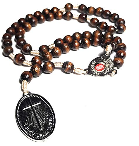 Saint Faustina Kowalska Mystic Visionary True Relic Chaplet Apostle Divine of Mercy with Miraculous Medal Jesus I Trust in You Chaplet Three O' Clock Prayer Poland Polish Novena (Brown on The Cord)
