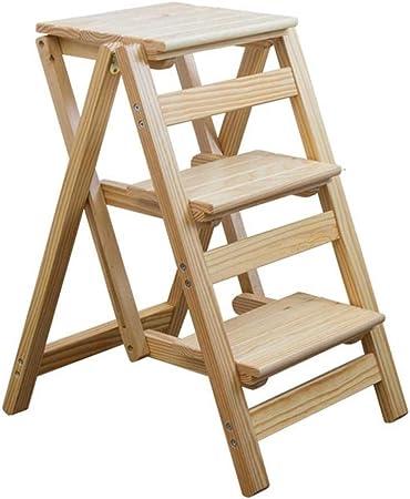 XITER Taburete Plegable de Escalera de Madera, Sillas de Escalera con Escalera de 3 escalones, Plataforma Plegable de Escalera con Taburete: Amazon.es: Hogar