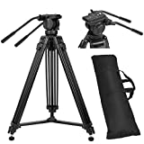 ZOMEI 61''/155cm Professional Aluminum Camera Video Tripod with 360-degree Panoramic Fluid Head, Max. Load up to 12kg/26lbs for DSLR Camcorder Video Shooting Photography Filming